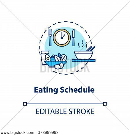 Eating Schedule Concept Icon. Mindful Eating, Conscious Food Consumption Idea Thin Line Illustration