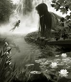 It is the Year warm day. The Girl talks with bird of the paradise near by waterfall. She has very long hairs which drift in flow. The White lilies grow in water. poster