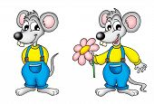 pair of mouses with flower - color illustration. poster