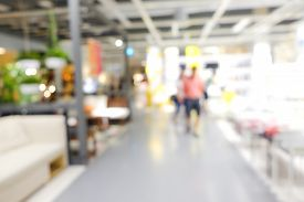 Abstract Blurred People Shopping In Supermarket Modern Store
