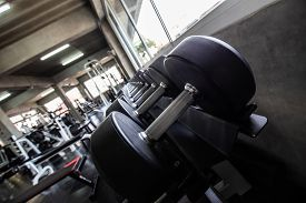 Row Of Big Dumbbell In Fitness Gym