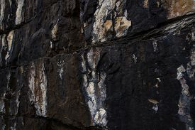 Close Up. Black, White And Brown  Rock Pattern On The  Rocky Mountains, Canada Background Or Texture
