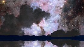 Nebula Reflection Mirror On The Dark Night Sky Over Water Surface