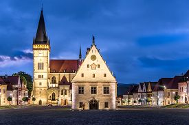 Bardejov,slovakia - June 9,2020 - Night View At The Town Hall Place With Basilica Of St.aegidius In