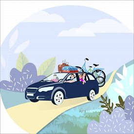 Family Travel By Car With Bike. Family Road Trip On Car. Family Couple With Kids On Vacation. Vector