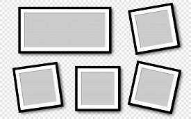Photo Frames. Collection Photo Frames, Isolated. Template Mockup Photo Frame Different Shapes. Trans