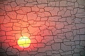Wood Texture Surface Is Sunset Background Was Cracked And Swelling