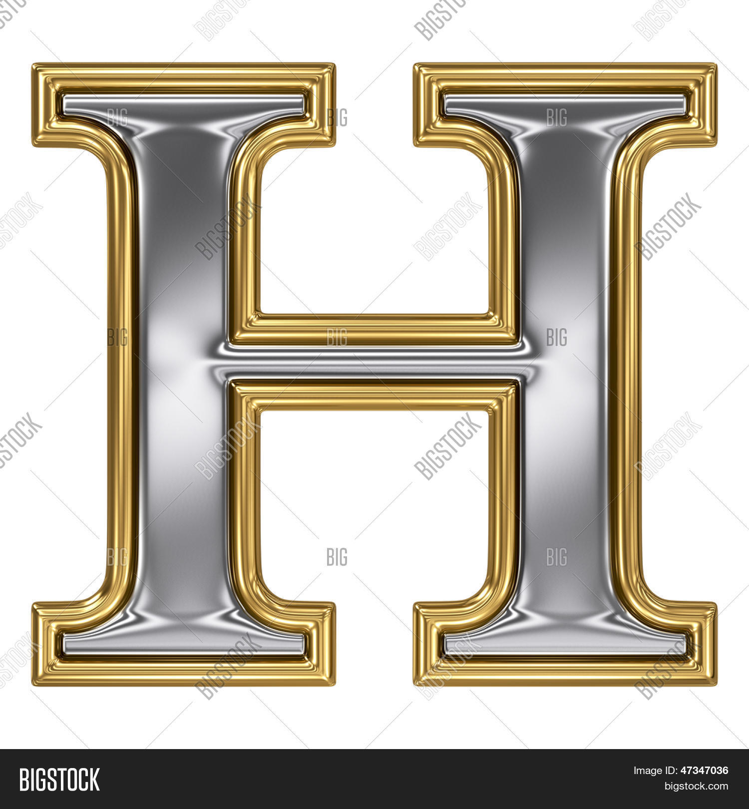 Silver Letter H: Metal Silver Gold Alphabet Letter Image & Photo