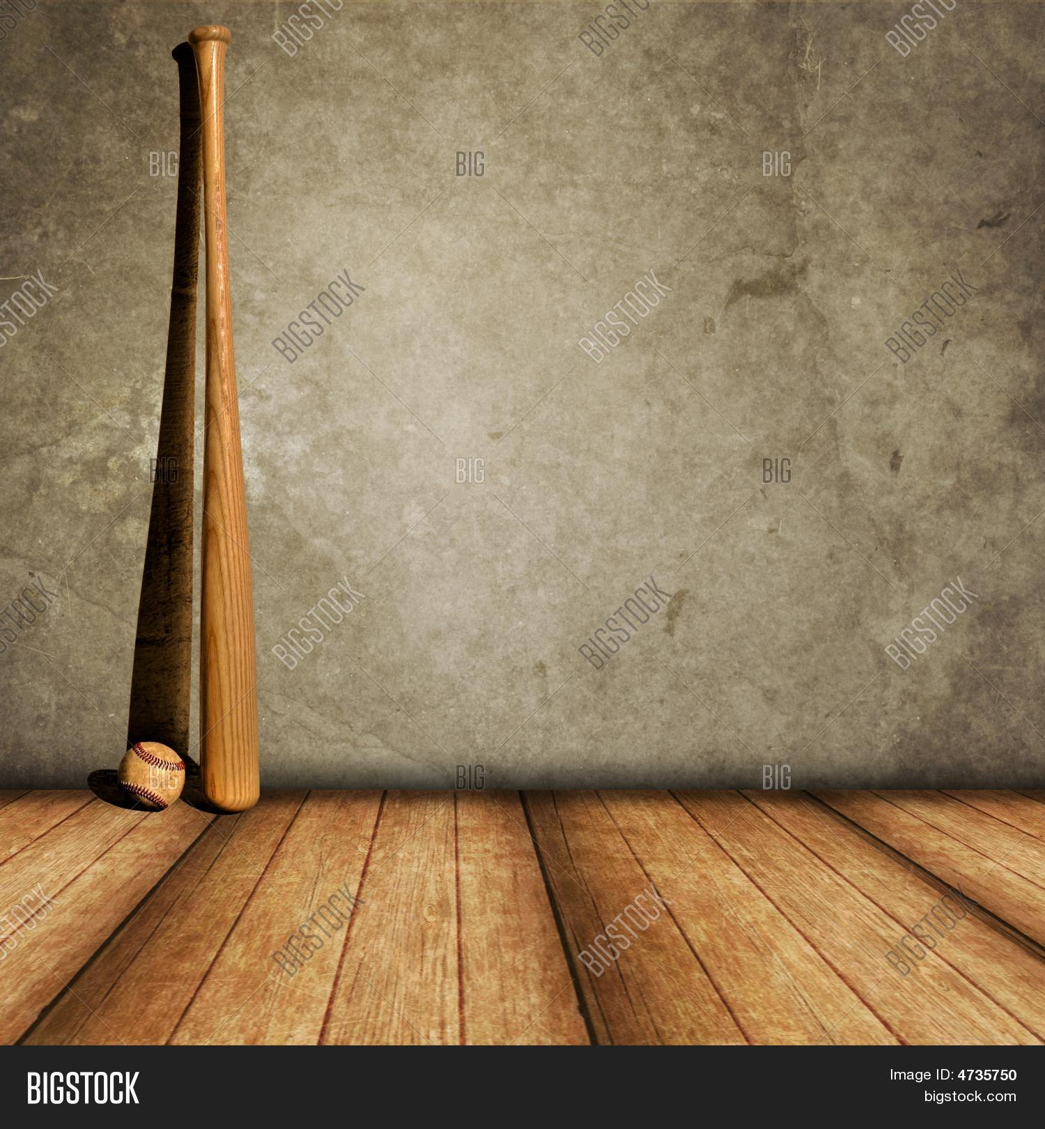Lone Baseball And Bat Against A Concrete Wall Wood Floor