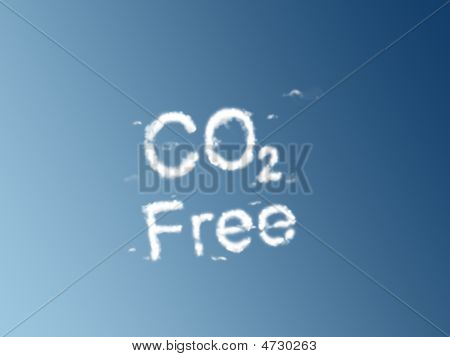 poster of A cloud of white vapour forming the letters CO2 Free on a blue background