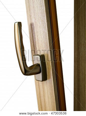 Window handle on fiberglass window. Gold color. Interior design. poster
