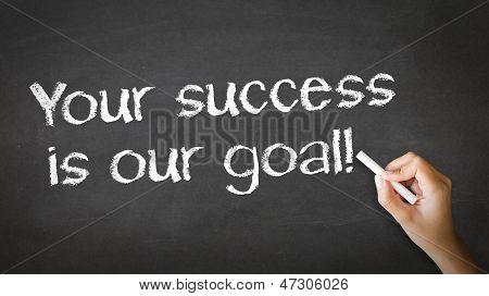 Seu sucesso é nossa objetivo giz ilustração