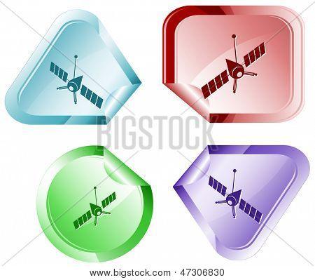 Spaceship. Raster sticker.
