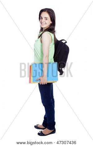 Side view of a female student carring notebooks and backpak, isolated on white