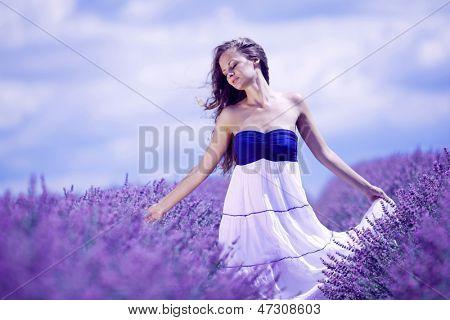 woman on lavender field