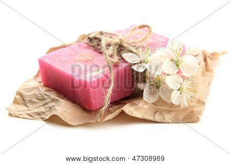Natural handmade soap, isolated on white