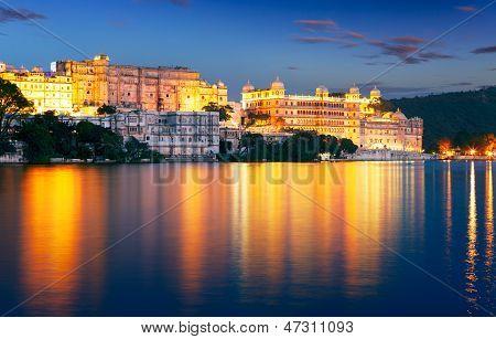 City Palace And Pichola Lake At Night, Udaipur, Rajasthan, India.