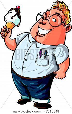 Cute Cartoon nerd about to eat a big ice cream.