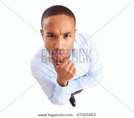 Young African Businessman Thinking Over White Background