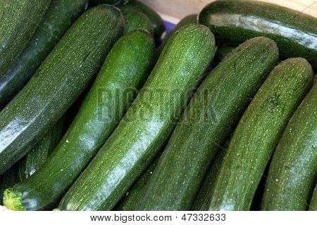ripe cucumbers in the Farmers Market, close up