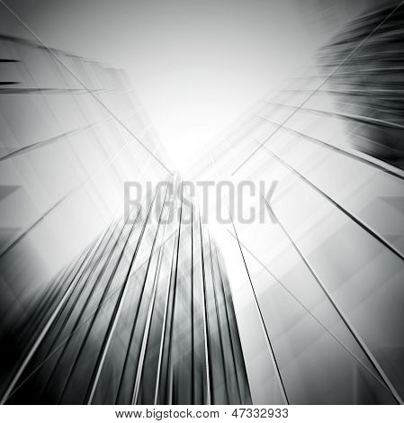Panorama und perspektivische Weitwinkel Ansicht stahlblauen Hintergrund Glas hohe Aufstieg Gebäude skysc