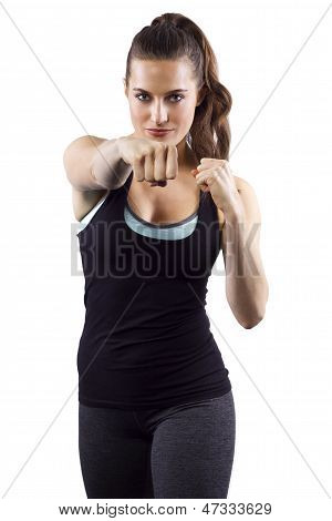 young female MMA fighter on white background poster