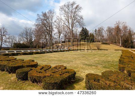 Park In Front Of The Castle Hluboka Nad Vltavou. Czech Republic