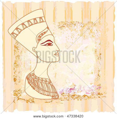 old paper with Egyptian queen cleopatra , vector illustration poster