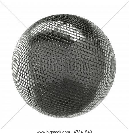 Silver Shining Disco Ball Isolated On White Background