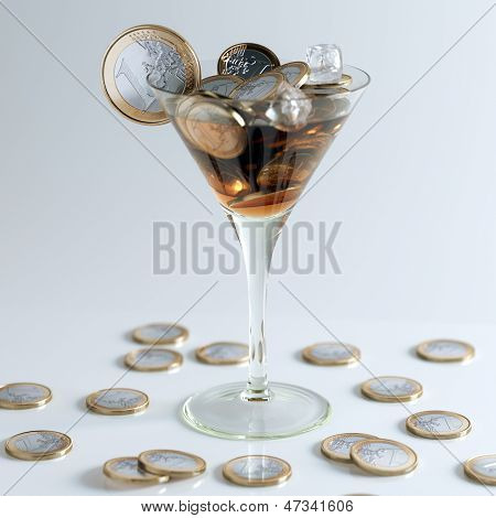 Cocktail Created Out Of Euro Coins (Money Conceptual Picture)