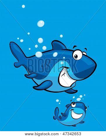 Cartoon Smiling Shark Family