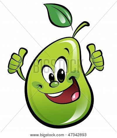Happy Cartoon Pear Making An Ok Gesture