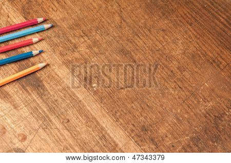 Timber Table Top With Color Pencils