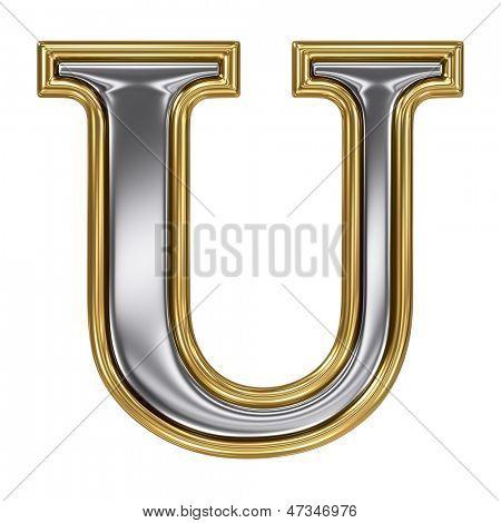 Metal silver and gold alphabet letter symbol - U