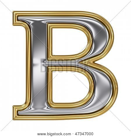 Metal silver and gold alphabet letter symbol - B