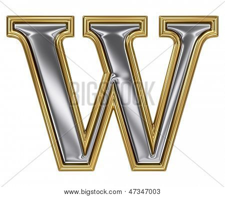 Metal silver and gold alphabet letter symbol - W