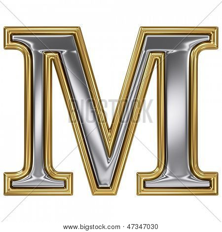 Metal silver and gold alphabet letter symbol - M