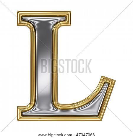 Metal silver and gold alphabet letter symbol - L