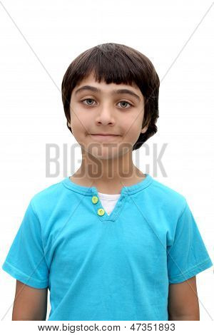An eight year old brown haired boy