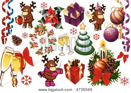 Set Of Vector Christmas Decorations