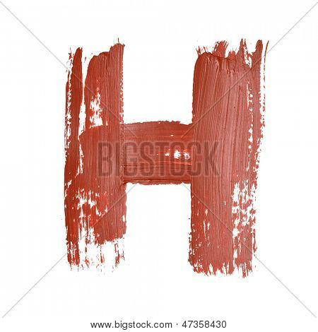 H - Red letters over white background