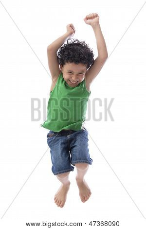 Happy Boy Jumping With Joy