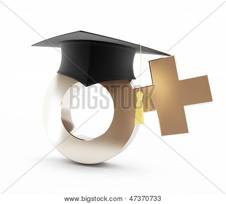 Girls' School. Graduation Cap, Sign Woman On A White Background