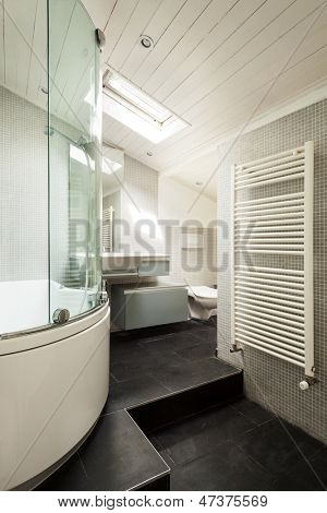 interior, modern bathroom in an old loft