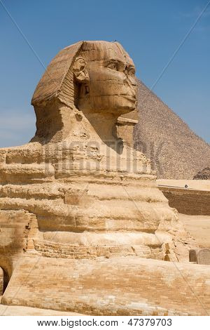 Famous ancient statue of Sphinx in Giza Egypt poster