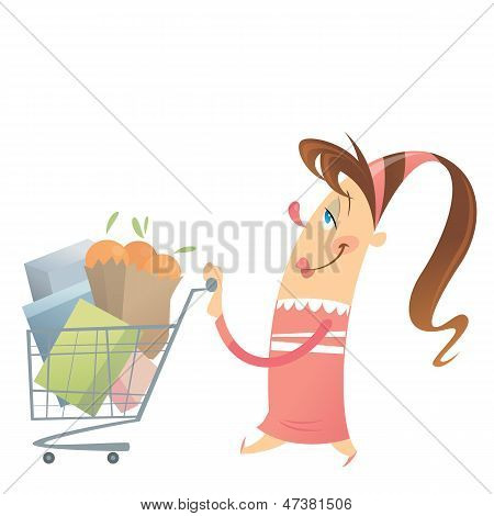 Happy Woman Shopping Satisfied In A Super Market With Her Full Cart