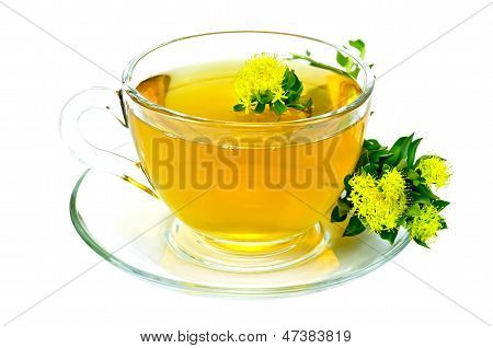Healing herbal tea in glass cup with flowers Rhodiola rosea on the saucer isolated on white background poster