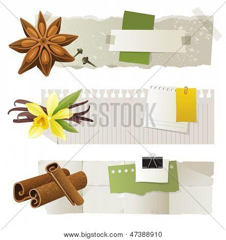 3 Papier-Banner mit Anis, Vanille und Zimt