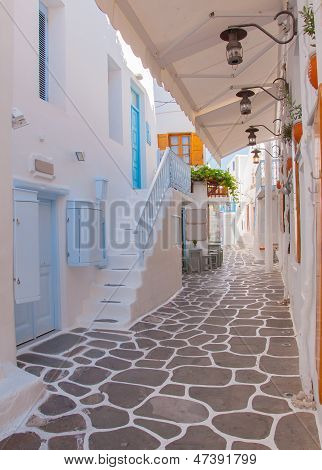 Classical Greek Architecture Of The Streets - Stairs, Balconies, Painted Pavement