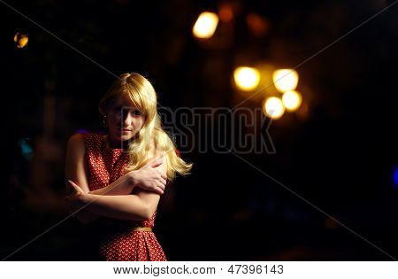 Lonely Girl On Dark Night Street